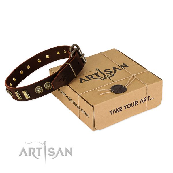 Durable fittings on full grain genuine leather dog collar for your four-legged friend