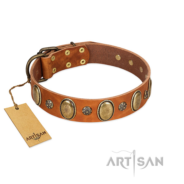 Handy use gentle to touch genuine leather dog collar with decorations