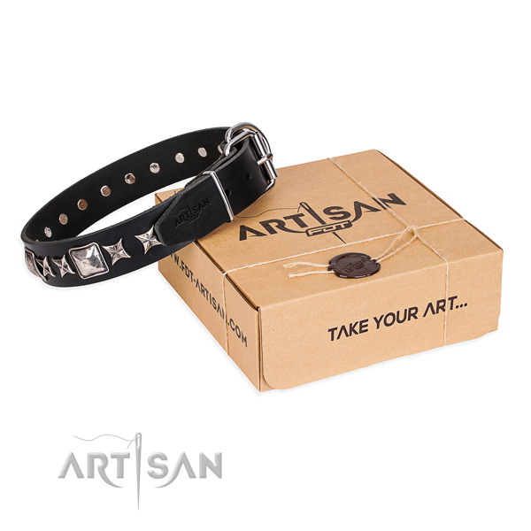 Daily use dog collar of quality genuine leather with decorations