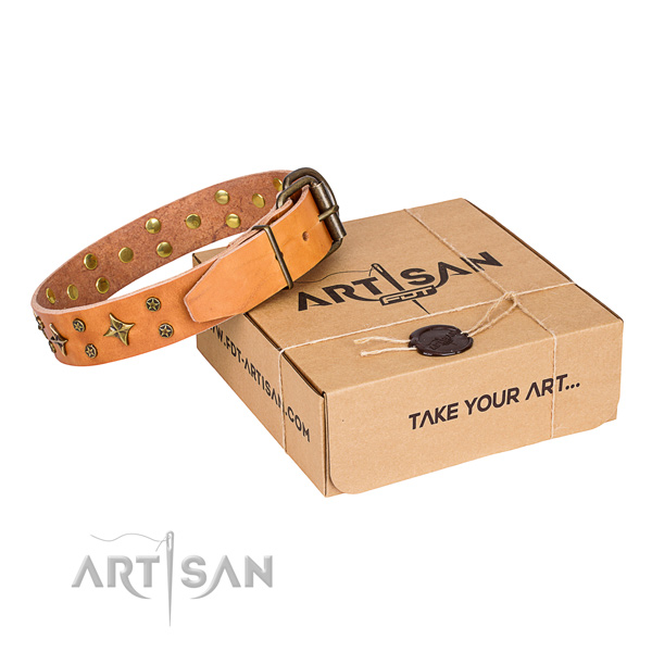 Easy wearing dog collar of strong natural leather with studs