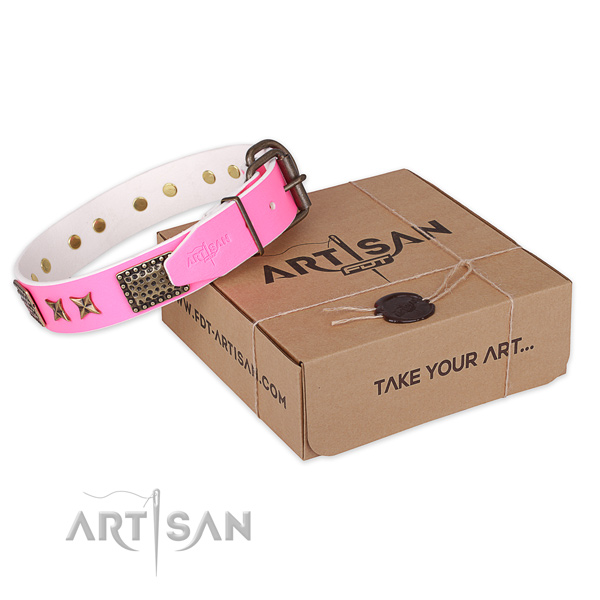 Reliable buckle on genuine leather collar for your beautiful pet