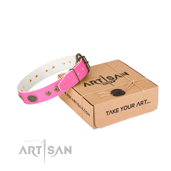 Strong hardware on leather dog collar for your dog