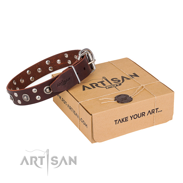 Comfortable wearing dog collar with Incredible durable studs