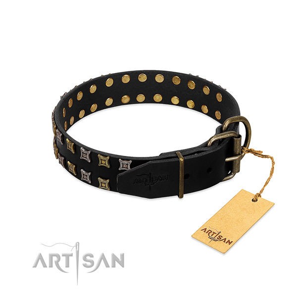 Top notch leather dog collar handcrafted for your doggie