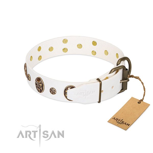 Rust resistant traditional buckle on full grain natural leather dog collar for your pet
