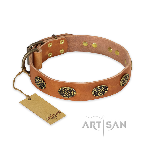 Adjustable full grain leather dog collar with corrosion resistant hardware