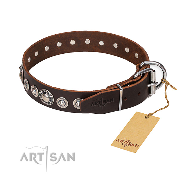 Full grain leather dog collar made of flexible material with durable hardware