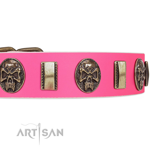 Strong buckle on full grain natural leather dog collar for your pet