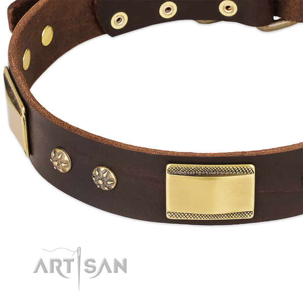 Strong D-ring on full grain natural leather dog collar for your canine