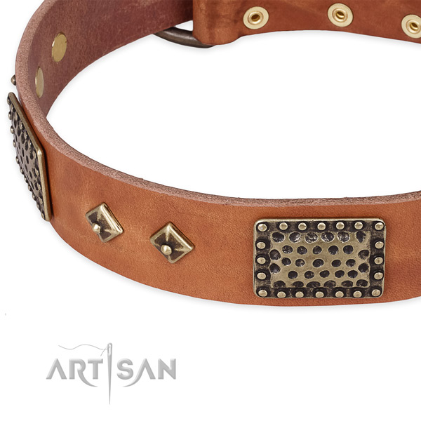 Durable D-ring on full grain leather dog collar for your doggie
