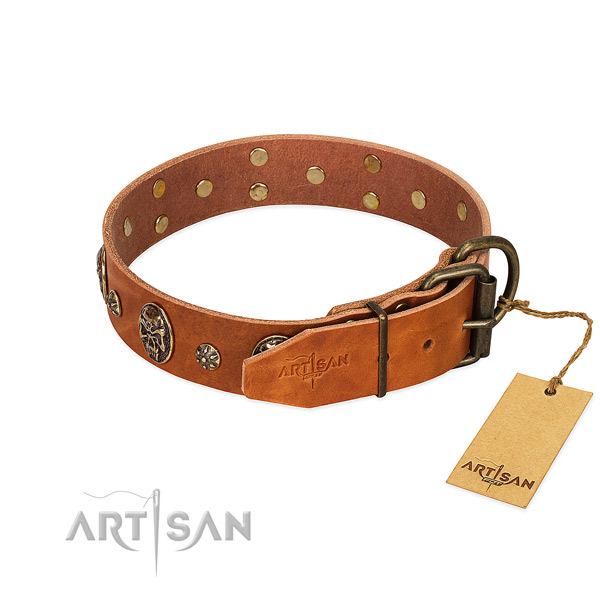 Reliable decorations on natural genuine leather dog collar for your doggie