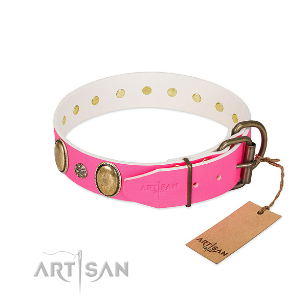 Soft leather dog collar with decorations