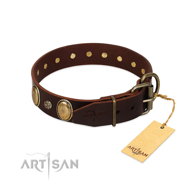 Comfortable wearing reliable leather dog collar