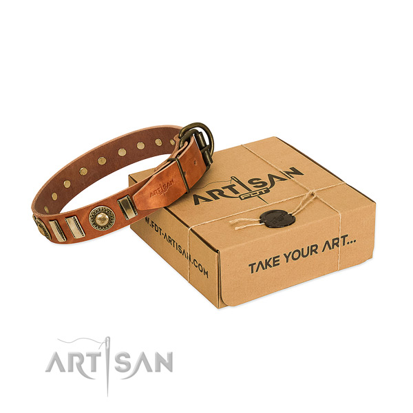 Flexible full grain natural leather dog collar with rust resistant buckle