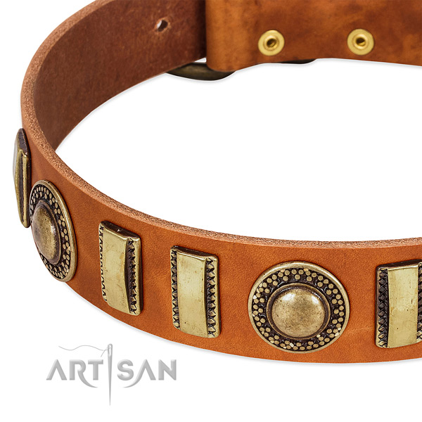 Strong natural leather dog collar with rust-proof traditional buckle