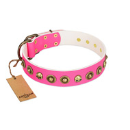 """Pawty Time"" FDT Artisan Pink Leather Bullmastiff Collar with Decorative Skulls and Brooches"