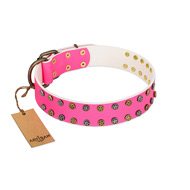 """Blushing Star"" FDT Artisan Pink Leather Bullmastiff Collar with Two Rows of Small Studs"