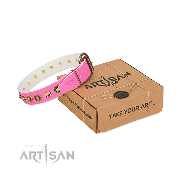 Full grain genuine leather collar with amazing studs for your canine