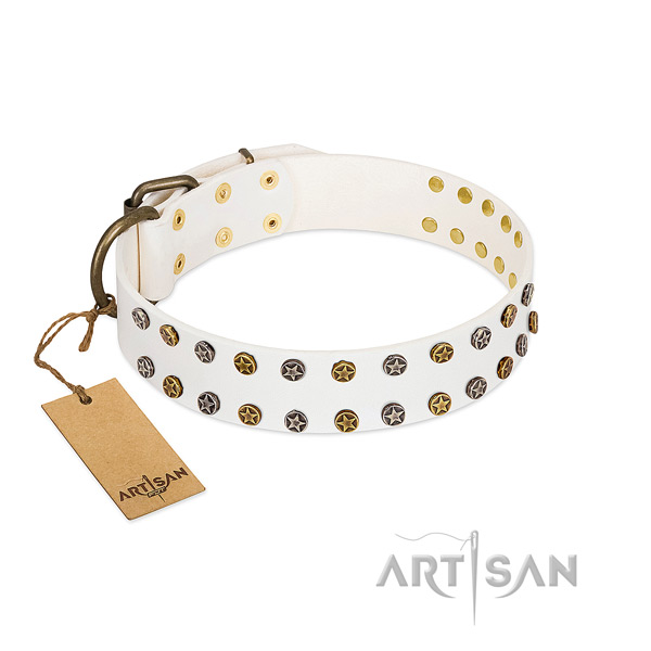 Exquisite natural leather dog collar with corrosion proof studs