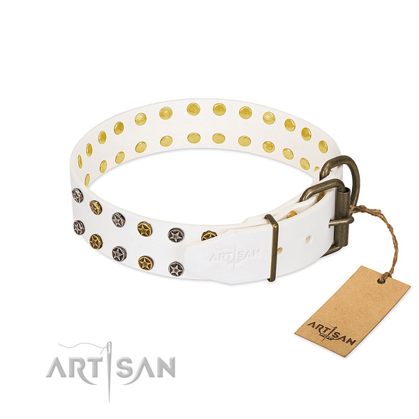 Inimitable natural leather dog collar with reliable decorations
