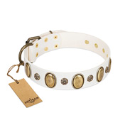 """Nifty Doodad"" FDT Artisan White Leather Bullmastiff Collar with Amazing Large Ovals and Small Studs"