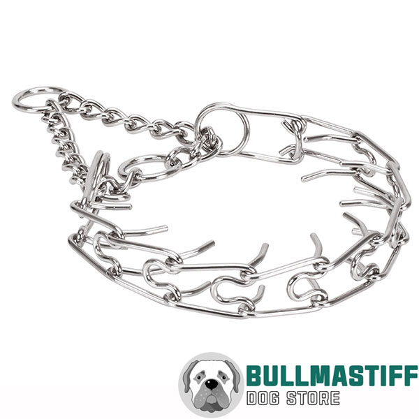 Reliable corrosion proof dog prong collar with stainless steel removable links
