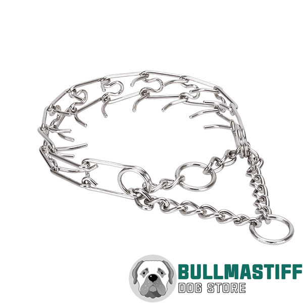 Prong collar of corrosion-proof stainless steel for poorly behaved dogs