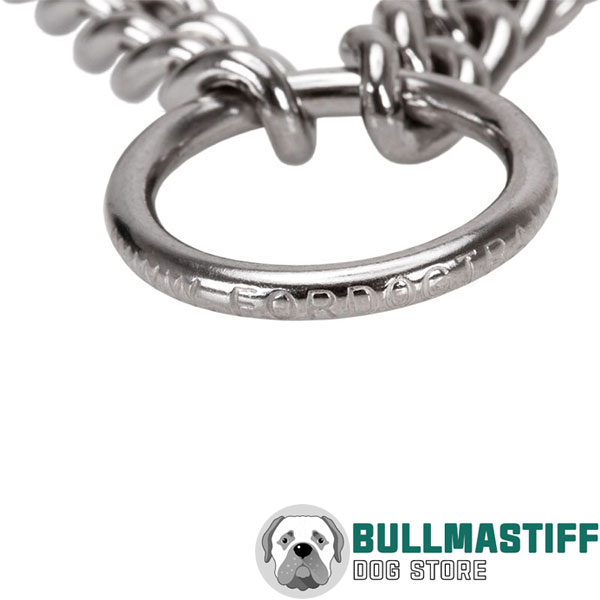Strong dog prong collar of corrosion proof stainless steel for large pets