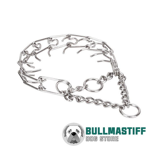 Adjustable stainless steel dog prong collar with removable links for medium canines