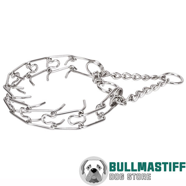 Dog pinch collar of reliable stainless steel for large canines