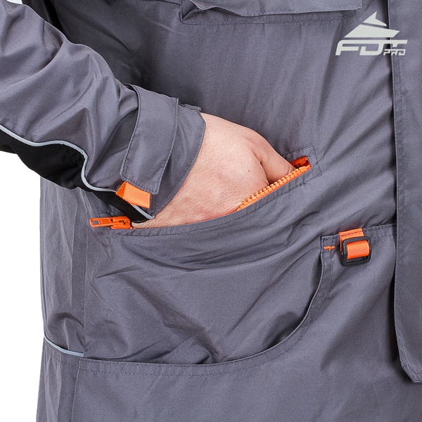 Grey FDT Professional Design Dog Tracking Jacket with Strong Side Pockets