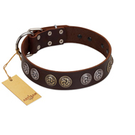 """Treasure Hunter"" FDT Artisan Brown Leather Bullmastiff Collar with Old-Bronze-like and Silvery Medallions"