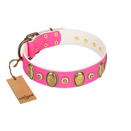 """Drawing Power"" FDT Artisan Pink Leather Bullmastiff Collar with Engraved Ovals and Dotted Studs"