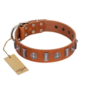"""Luxurious Necklace"" FDT Artisan Tan Leather Bullmastiff Collar with Silver-Like Adornments"