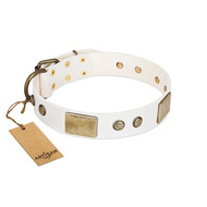 """Pure Elegance "" FDT Artisan White Decorated Leather Bullmastiff Collar - 1 1/2 inch (40 mm) wide"