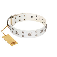 """Star Patrol"" FDT Artisan White Leather Bullmastiff Collar Adorned with Stars and Studs"