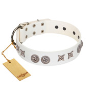 """Galaxy Hunter"" FDT Artisan White Letaher Bullmastiff Collar with Engraved Brooches and Stars"