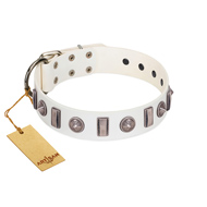 """Icy Spike"" Designer FDT Artisan White Leather Bullmastiff Collar with Silver-Like Decorations"