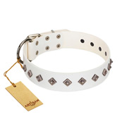 """Snowy Day"" Stylish FDT Artisan White Leather Bullmastiff Collar with Small Dotted Pyramids"