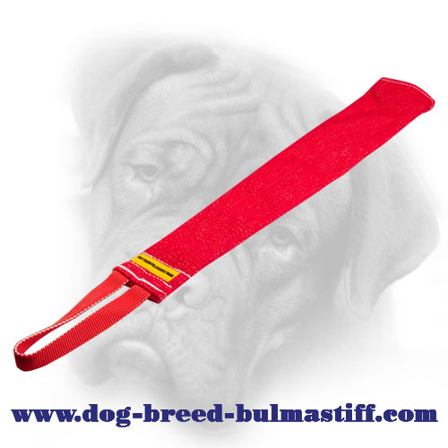 French Linen Bullmastiff bite rag with a nylon loop