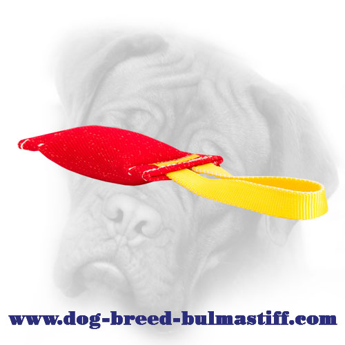 French Linen Bullmastiff bite tug with  dog-friendly filling