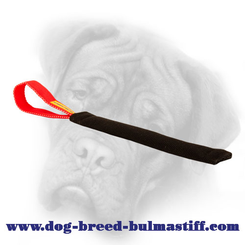 French Linen Bullmastiff bite tug with a convenient loop