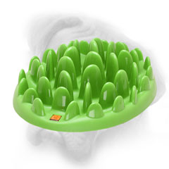 Bullmastiff plastic feeder that looks like lawn