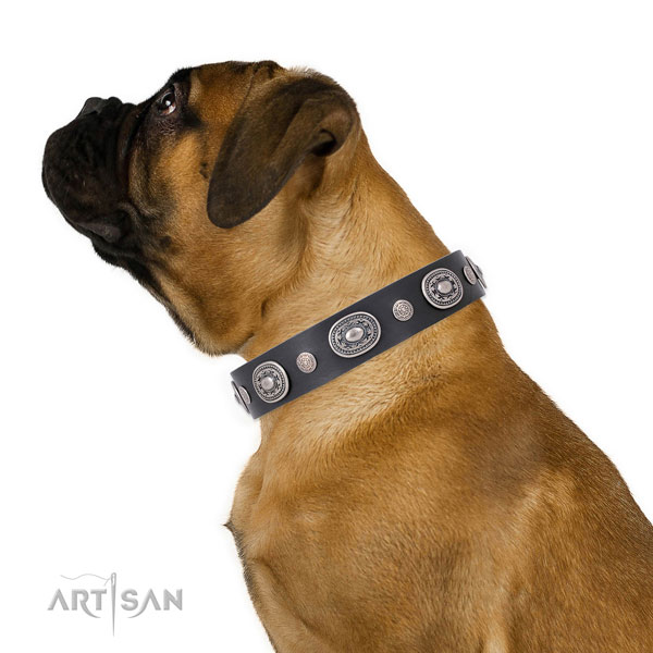 Rust-proof buckle and D-ring on full grain leather dog collar for stylish walking