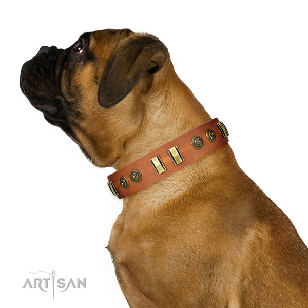 Corrosion proof fittings on genuine leather dog collar for comfy wearing