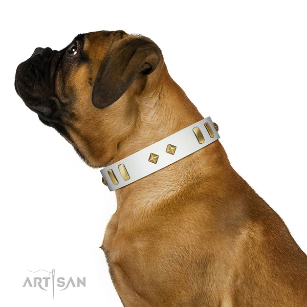 Comfortable wearing high quality natural leather dog collar with decorations