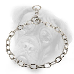 Choke chain collar for Bullmastiff with fur saving  links