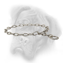 Chrome plated Bullmastiff choke chain collar