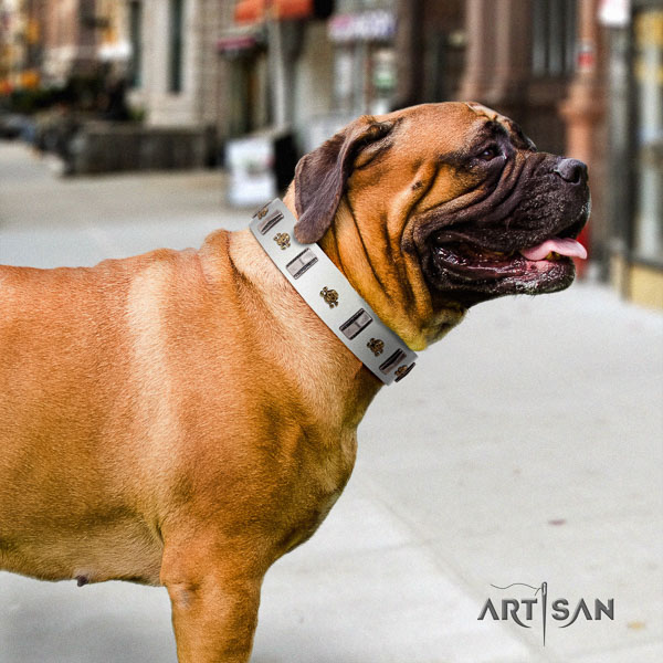 Bullmastiff easy to adjust full grain genuine leather collar with embellishments for your doggie