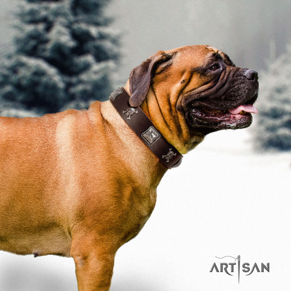 Bullmastiff handmade natural genuine leather collar with decorations for your dog